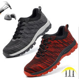 Men's Hiking Steel Toe Work Safety Shoes Mesh Lace Up Anti-slip Anti-Collision Safe Shoes