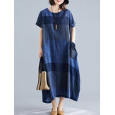 Grid Printed O-neck Front Pocket Short Sleeve Baggy Maxi Dress For Women