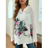 Kadın için Vintage Baskı Patchwork Plus Beden Bluz