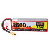 ZOP Power 11.1V 2600mAh 100C 3S baterai lipo XT60 Plug untuk RC Racing Drone