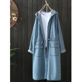 カジュアルな女性の巾着長袖フード付きデニムコートポケット付き
