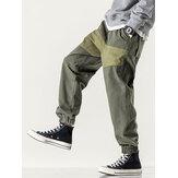 Heren 100% katoen patchwork koord elastische taille cargo broek met zak
