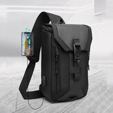 Men Oxford USB Charging Multi-pocket 3 Card Slots Waterproof Outdoor Crossbody Bag Chest Bag Sling Bag