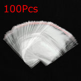 100pcs sac d'opp en cellophane transparent rescellable avec bande auto-adhésive