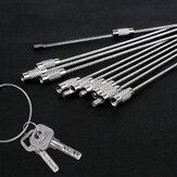 1Pcs Keychain Tag Rope Stainless Steel Wire Cable Loop Screw Lock Gadget Ring Key Keyring Circle Hanging Tool