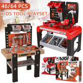 46/64Pcs Kids Tool Bench Playset Pretend Repair Work Construction Toy Set