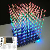 DIY WIFI APP 8x8x8 3D Light Cube Kit Red Blue Green LED MP3 Music Spectrum Electronic Kit No Housing