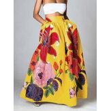 Женские повседневные эластичные юбки макси с высокой талией и цветочным принтом с карманом