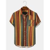 Camisas de manga curta masculina listrada com estampa geo-impressão vintage