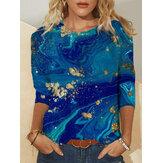 Tallas grandes Mujer Blusas de manga larga informales con cuello en O con estampado abstracto de tie-dye