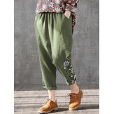 Flowers Print Elastic Waist Plus Size Casual Pants For Women