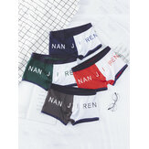 4Pcs Mens Color Block Boxer Briefs Letter Print Cotton Breathable Antibacterial Cozy Underwears