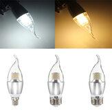 E14 E12 E27 7W 60 SMD 3014 LED白暖かい白ガラスキャンドルランプ電球非調光AC85-265V