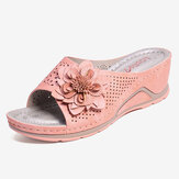 LOSTISY Women Flower Decoration Adjustable Strap Hollow Out Slip On Casual Summer Sandals