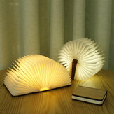Creative Flip Page Book Light White Maple Wood Night Light USB Rechargeable
