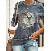 Women Dragonfly Print Long Sleeve Vintage T-shirts
