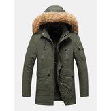 Gola com capuz de pele falsa destacável com vários bolsos masculinos engrossar casacos quentes