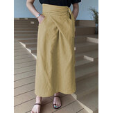 Original              Women Cotton A-Line Casual Belted High Waist Maxi Skirts With Pocket