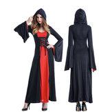 Traje de bruja de vampiro de la corte Mujer de Court Vestido con Headwear