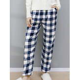 Women Plaid Pattern Plush Thicken Warm Home Sleepwear Pants