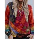 Kadın Vintage Etnik Baskılı Uzun Kollu V Yaka Fermuar Önü Günlük Bluz