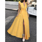 Women Ditsy Floral Print V-Neck Lace-Up High Split Casual Short Sleeve Maxi Dress