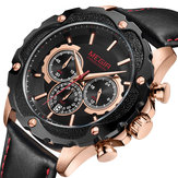 MEGIR 2070 Sport Chronograph Luminous Cuir Quartz Montre