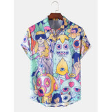 Halloween Designed Cartoon Monster Print Revers Kurzarm Niedliche Shirts