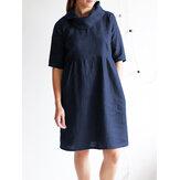 Cowl Neck Solid Cotton Dress