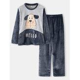 Women Hello Cartoon Dog Pattern Side Pocket Top Plush Home Casual Pajama Set