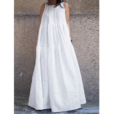 Women Sleeveless O-neck Loose Swing Maxi Casual Dress