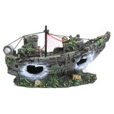 Aquarium Ornament Wreck Sailing Boats Sunk Ship Destroyer Fish Tank Cave Decor Model