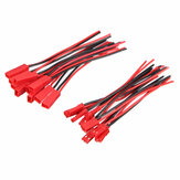 Excellway® 10 paren 2 pins JST male en female connectoren Plug Cable Cable Line 110mm Red