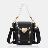 Femmes PU cuir en forme de coeur moraillon chaîne de perles sac à main sac à bandoulière sacs à bandoulière