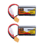 2Pcs ZOP Power 7.4V 1500mAh 40C 2S Lipo Battery XT60 Plug