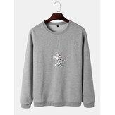 Herren Astronaut Grafikdruck Rundhals Baumwolle Pullover Sweatshirts