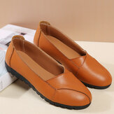 Women Casual Breathable Leather Halved Belt Slip-on Soft Sole Loafers