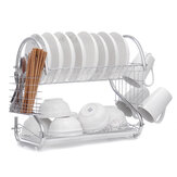 Dish Drying Rack 2 Tier Dish Rack with Utensil Holder Cup Holder and Dish Drainer for Kitchen Counter