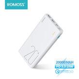 ROMOSS Sense 6  74Wh 20000mAh Power Bank 18W PD3.0 QC3.0 Fonte de alimentação de bateria externa de carregamento rápido para iPhone 12 Pro Max para Samsung Galaxy Note S20 ultra Huawei Mate40 OnePlus 8 Pro