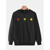 Mens Planet Print Simple Long Sleeve Drop Shoulder Pullover Cotton Sweatshirts