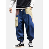 Mens Patchwork Multi Pocket Drawstring  Elastic Waist Loose Jogger Jeans