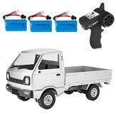 WPL D12 1/10 2.4G 2WD Militaire vrachtwagencrawler Off-road RC Auto-voertuigmodellen Speelgoed Meerdere batterijen