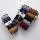 5Pcs Hombres Algodón Rayas de diamantes de color sólido Patrón Casual Sport al aire libre Tubo antideslizante calcetines