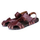 Comfy Men Buckle Stitching Hollow Outs Leather Sandals
