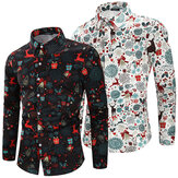 Herre jule skjorte Casual fest Langærmet skjorte åndbar Soft Bluse Camping Vandring Fancy Top
