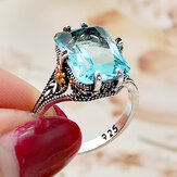 Vintage S925 Square Highland Topaz Finger Ring Geometryczny Hollow Flower Ring