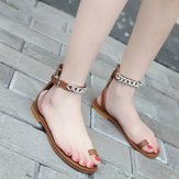 الرومانيسلسلةمعدنيةالنساءأحذيةكليب تو صنادل