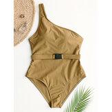 ملابس السباحة الصلبة اللون One الأشرطة One قطعة مع حزام