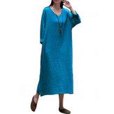 Vintage Women A-line V-neck Long Sleeve Dress with Pockets
