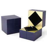 Deffrun Jewelry Ring Box Holder with LED Light Wedding Proposal Engagement Gift Watch Box